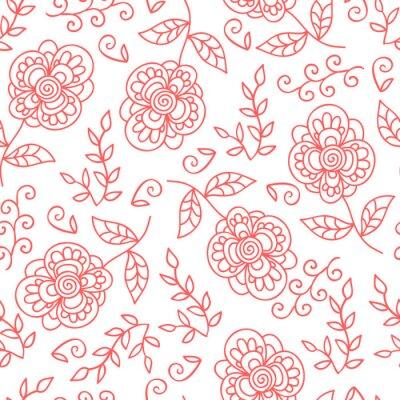 Carta da parati Vector fiore e foglie seamless. Doodle fiori carino.