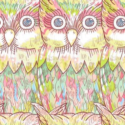 Carta da parati Vector gufo seamless. Astratto carino sfondo uccello.