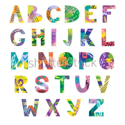 Carta da parati Vector hand drawn latin artistic alphabet. Doodle fancy abc. Colorful fanky creative font.