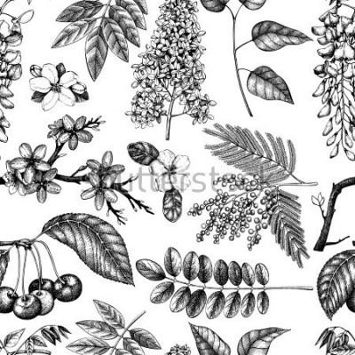 Carta da parati Vector il fondo con l'illustrazione sbocciante disegnata a mano degli alberi. Raccolta di schizzo di fiori di primavera. Motivo floreale senza soluzione di continuità