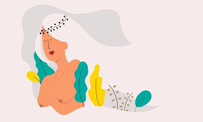 Carta da parati Vector illustration of a beautiful naked woman.