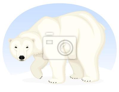 Vector lillustrazione di un orso polare cartone animato contro