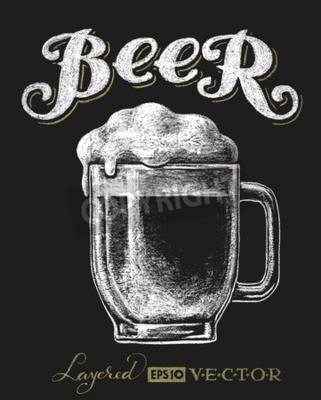 Carta da parati Vector l'illustrazione di vetro di birra gesso sulla lavagna. Eps10. Trasparenza utilizzato. RGB. colori globali. Sfumature liberi. Ogni elementi sono raggruppati separatamente