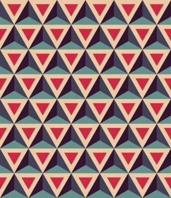 Carta da parati Vector moderno senza soluzione di modello colorato geometria, triangoli 3D, colore rosso blu, sfondo geometrico astratto, stampa multicolore alla moda, retro tessitura, design di moda pantaloni a vita