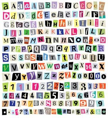 Carta da parati Vector Ransom Note-Cut Paper lettere, numeri, simboli