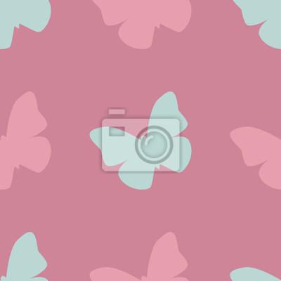 Vector Seamless Con Farfalle Rosa E Blu Su Sfondo Rosa Disegno