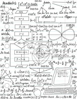 0a7a1d9051 Carta da parati: Vector seamless con formule matematiche e codice di  programmazione,