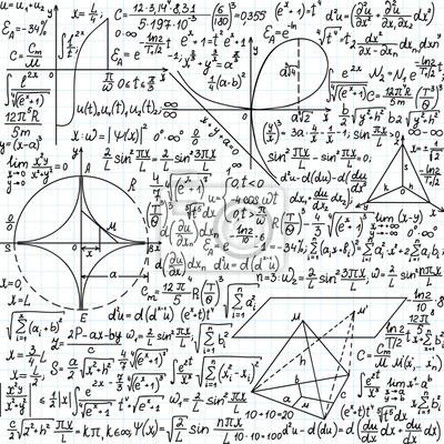 cb97a6e610 Carta da parati: Vector seamless con formule matematiche, equazioni e  figure