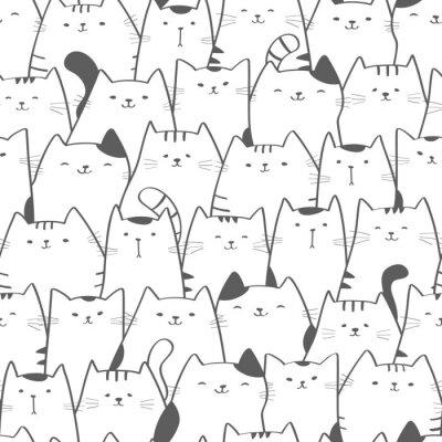 Carta da parati Vector seamless con gatti carino. Doodle art. Fondo disegnato a mano senza cuciture del gatto