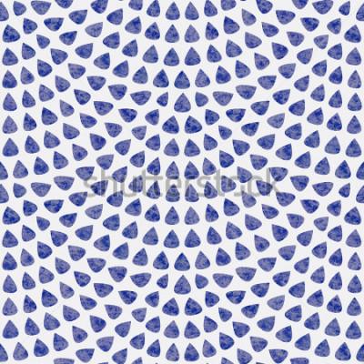 Carta da parati Vector seamless con layout di scala di pesce. Elementi a forma di goccia blu con struttura dell'acquerello su sfondo grigio chiaro