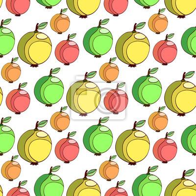 c74cec3a49 Carta da parati: Vector seamless con mele colorate. frutta stilizzato  sfondo.