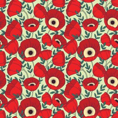 Carta da parati Vector seamless con papaveri. Floral background