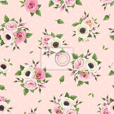 Carta Da Parati Vector Seamless Con Rose Rosa Lisianthus E Anemone Fiori Su