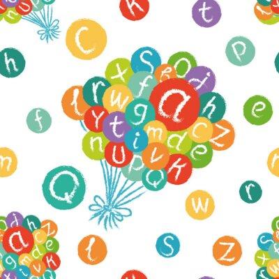 Carta da parati Vector seamless - divertente alfabeto inglese. Disegno a mano gesso, come lettere in cerchi colorati.