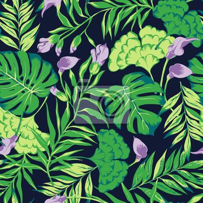 d1cd6696a5 Carta da parati: Vector seamless luminoso modello tropicale colorato con  fiori,