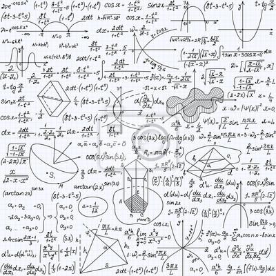 0932f30885 Carta da parati: Vector seamless matematica con formule, grafici ed  equazioni,