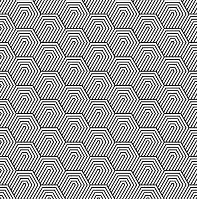 Carta da parati Vector seamless. Moderna trama elegante. Disegno geometrico in bianco e nero con piastrelle esagonali.