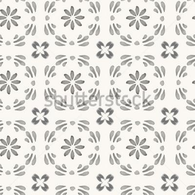 Carta da parati Vector seamless. Ornamento orientale dell'acquerello disegnato a mano con elementi floreali e geometrici. Decorazione rustica monocromatica. Per carte, banner, sfondi etnici.
