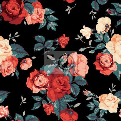 Vector Seamless Pattern Floreale Con Rose Su Sfondo Nero Carta Da