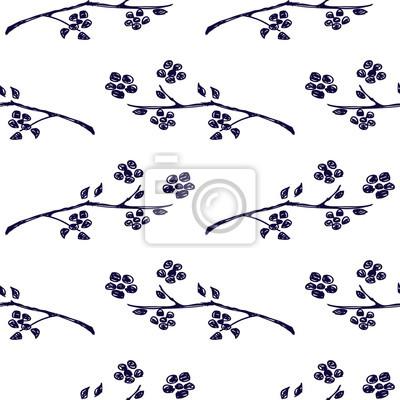 594df803c4 Carta da parati: Vector seamless, sfondo con rami con foglie e fiori su  sfondo