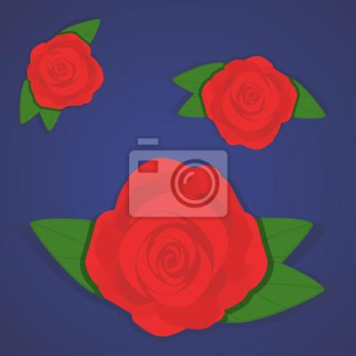 Vector Set Di Belle Rose Rosse Su Sfondo Blu Sfumato Stile Piatto