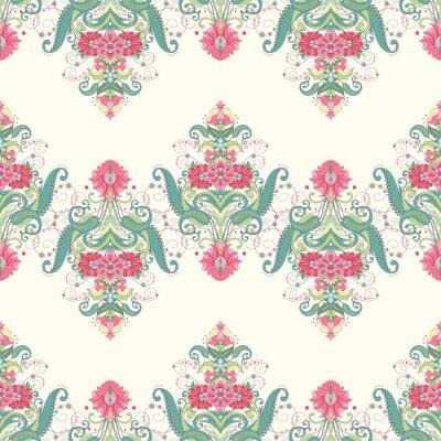Carta da parati Vector sfondo senza soluzione di continuità. Bellissimo motivo floreale orientale composto da bordi. Delicato verde e rosa.