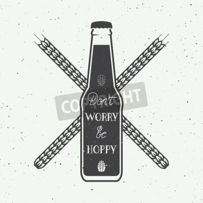 Carta da parati Vector vintage logo della birra con la mano lettering divertente citazione motivazione