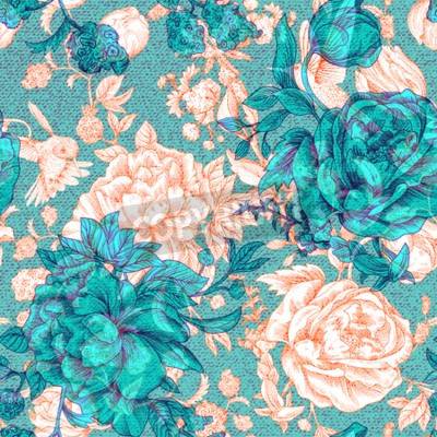 Carta da parati Vector vintage pattern with roses and peonies. Retro floral wallpaper, colorful backdrop