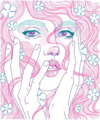 Carta da parati Vector viso bella ragazza faccia close-up con i capelli rosa e fiori delicati in acconciatura, tiene le mani per il viso