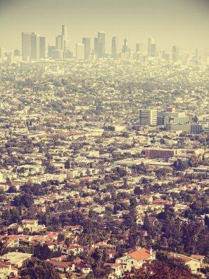 Carta da parati veduta aerea Retro stilizzata di Los Angeles visto attraverso lo smog, Stati Uniti d'America