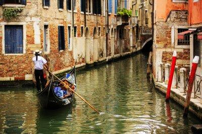 Carta da parati Venezia, Italia - Gondoliere e abitazioni storiche