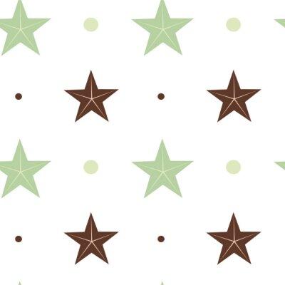 Carta da parati verde astratta e stelle marrone senza soluzione di vettore modello illustrazione sfondo in colori scandinavi