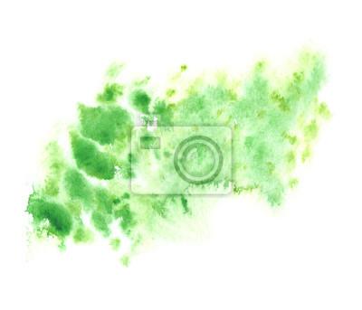 Verde E Colore Giallo Splatter Dipinta Ad Acquerello Su Sfondo Carta