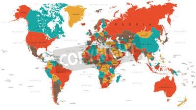 Carta da parati Verde Rosso Giallo Marrone Mappa del mondo - confini, paesi e città - illustrazione