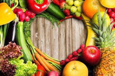 Carta da parati Verdure e frutta a forma di cuore