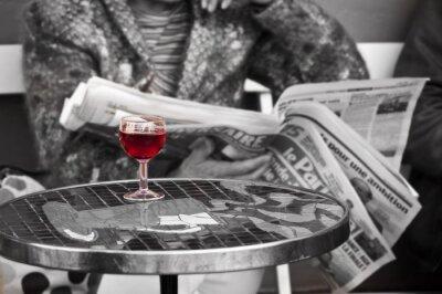 Carta da parati Verre de vin dans bistrot ONU - Parigi, Francia