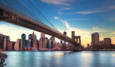 Carta da parati Vers Pont de Brooklyn a Manhattan, New York.