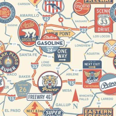 Carta da parati Vettore carta stradale d'epoca con cartelli - seamless