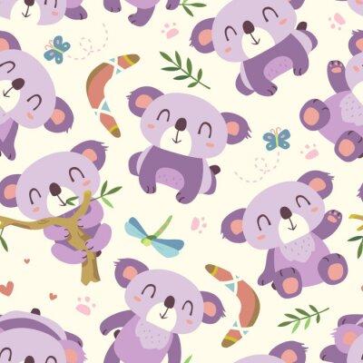 Carta da parati vettore cartone animato stile koala seamless