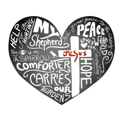 Carta da parati vettore cuore lavagna con il bianco scritto a mano testo tipografia con croce cristiana e Gesù in lettere rosse, il design chiesa bollettino di ispirazione, la pace, l'amore, e l'aiuto per il concetto