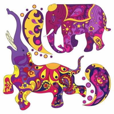 Carta da parati Vettore decorato elefante indiano