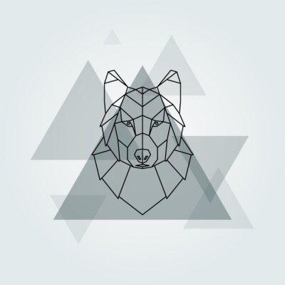 Carta da parati Vettore geometrico animale sfondo grigio lupo testa.