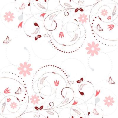 Carta da parati vettore sfondo floreale con motivo fiore d'epoca e le farfalle.