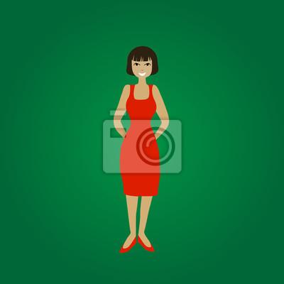 Vettore Sorridente In Piedi Giovane Donna In Abito Rosso Su Sfondo