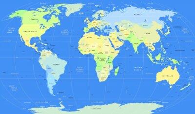 Carta da parati vettoriali dettagliate Mappa del mondo politico