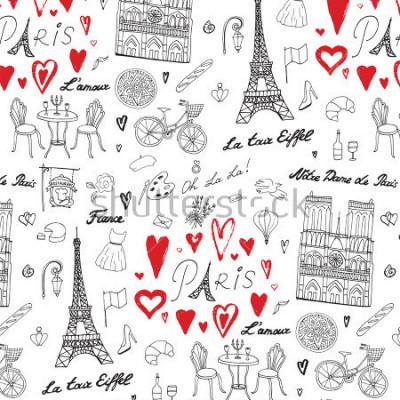 Carta da parati Viaggio Parigi linea modello vettoriale