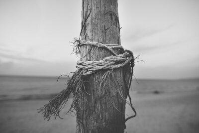 Carta da parati vicino in bianco e nero di pole in spiaggia con la corda attorcigliata