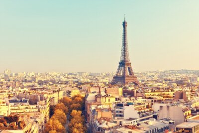 Carta da parati View on Eiffel tower at sunset