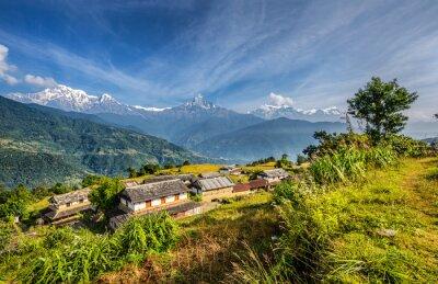Carta da parati Villaggio nelle montagne dell'Himalaya in Nepal
