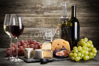 Carta da parati Vino e formaggio still life